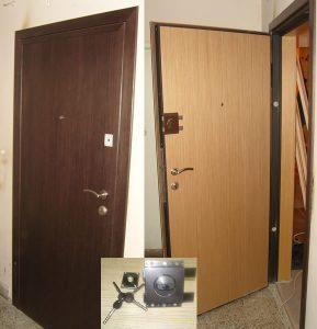 Фурнировани Метални Врати с каса по зида – модел К4 ( тристранна брава + брава GERDA )